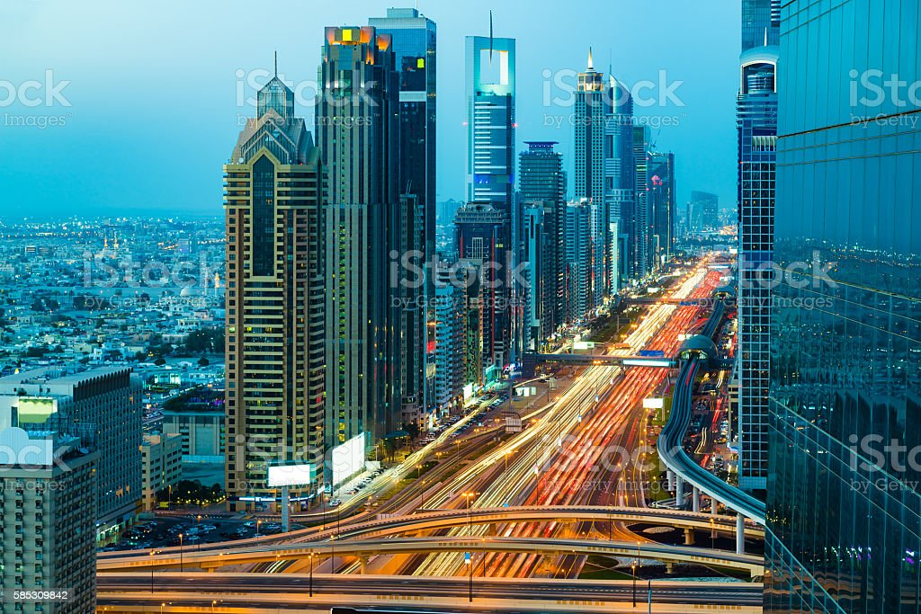 Highway traffic in Dubai, United Arab Emirates stock photo