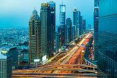 Highway traffic in Dubai, United Arab Emirates