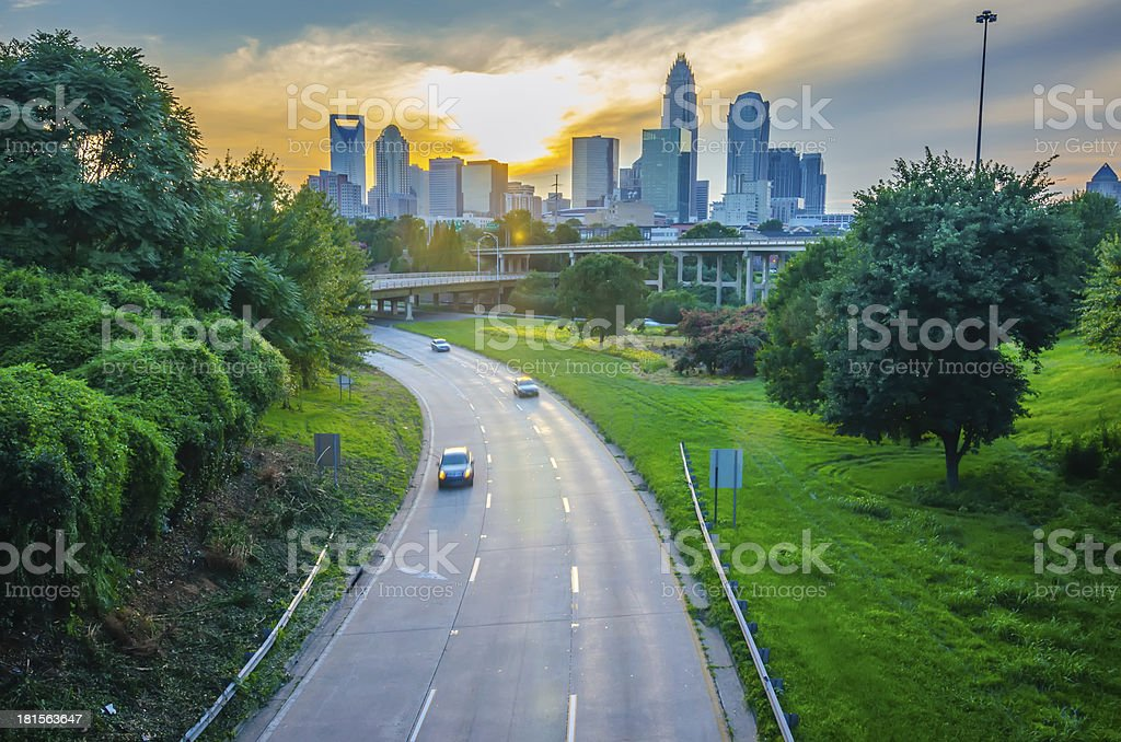 highway traffic near a big city royalty-free stock photo