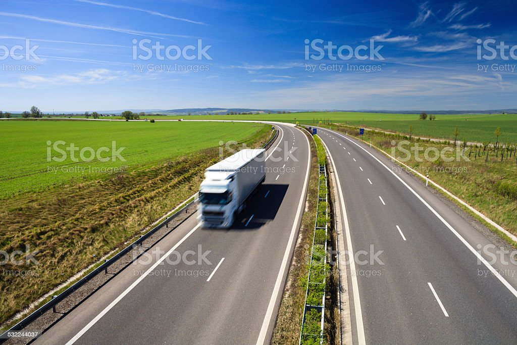 Highway traffic on a lovely, sunny summer day stock photo