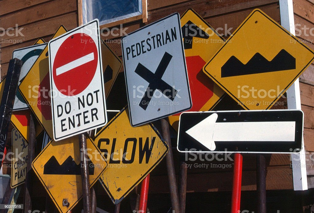 Highway Traffic Signs At Construction Deport royalty-free stock photo