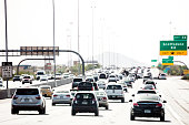 Highway traffic to Phoenix, Arizona.