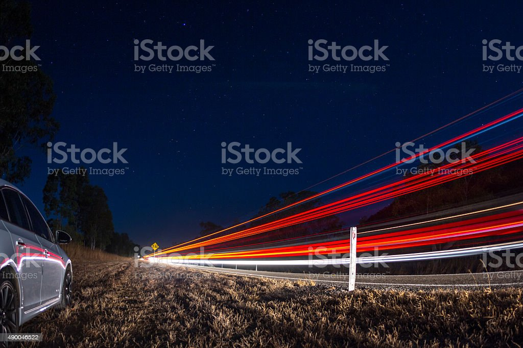 Highway trails stock photo