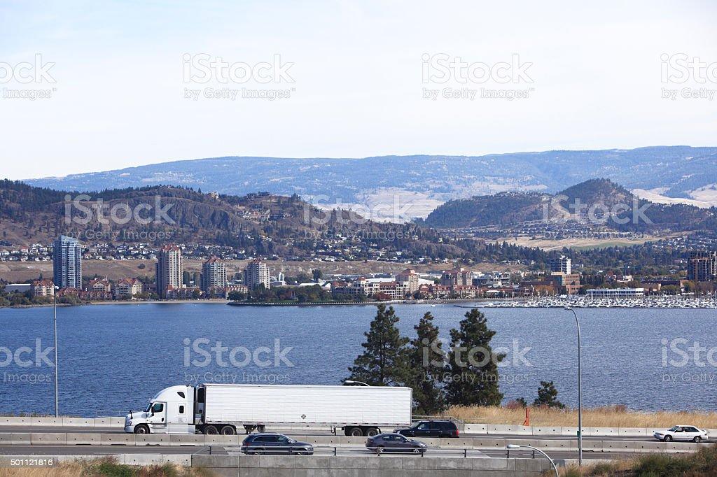 Highway Travel Kelowna British Columbia stock photo
