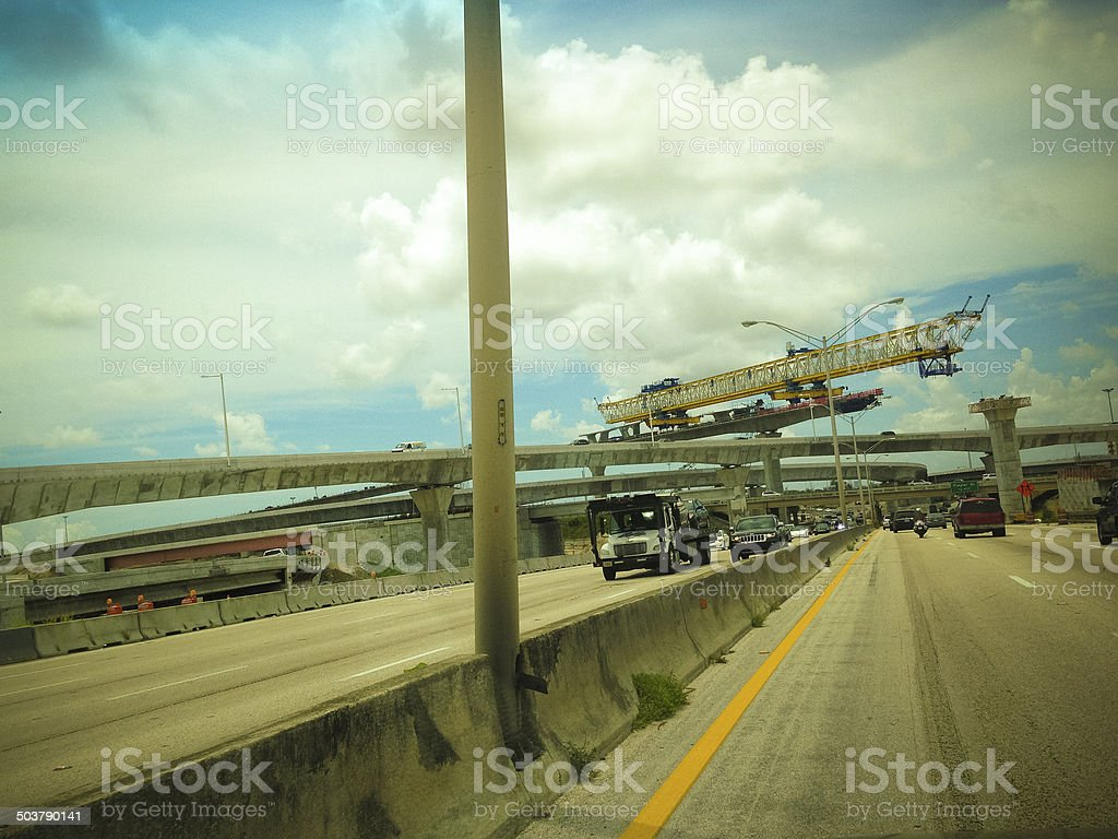Highway under construction stock photo
