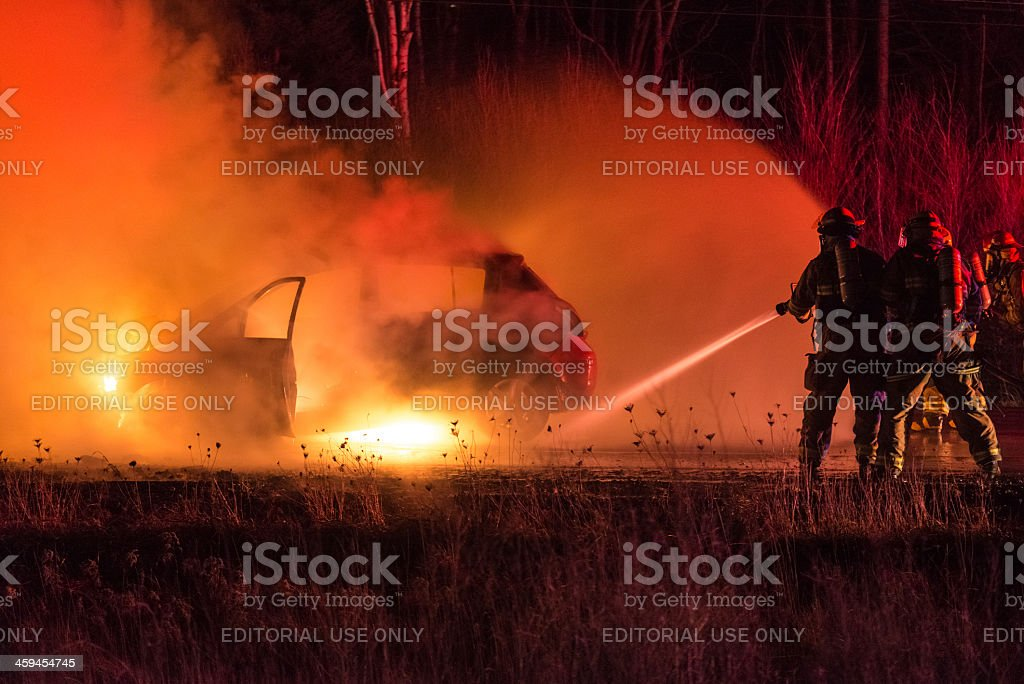 Highway Vehicle Fire royalty-free stock photo