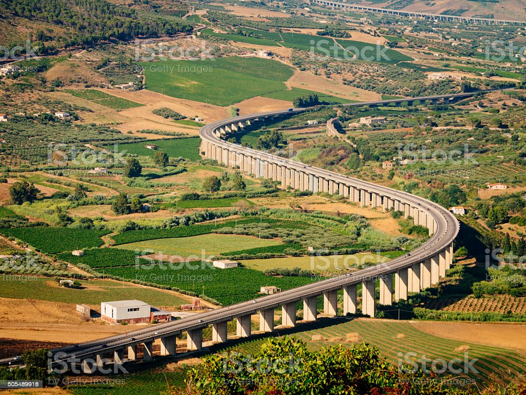 Highway viaduct in Sicily, Italy stock photo