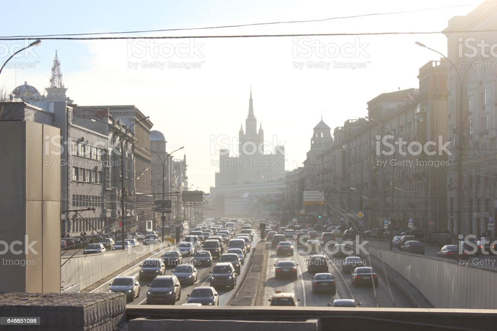 Highway view from the bridge in Moscow stock photo