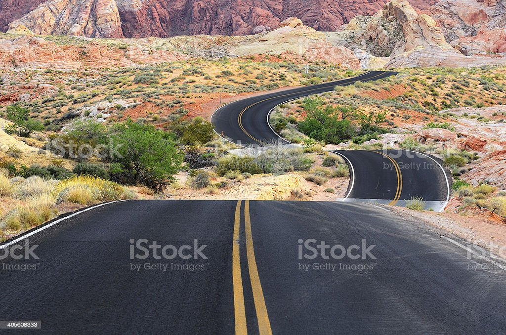 Highway winding through the Valley of Fire stock photo