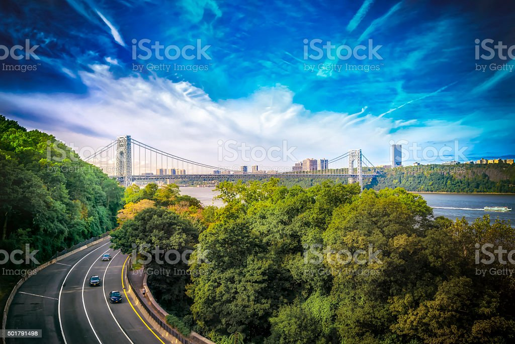 Highway with a view of the city stock photo