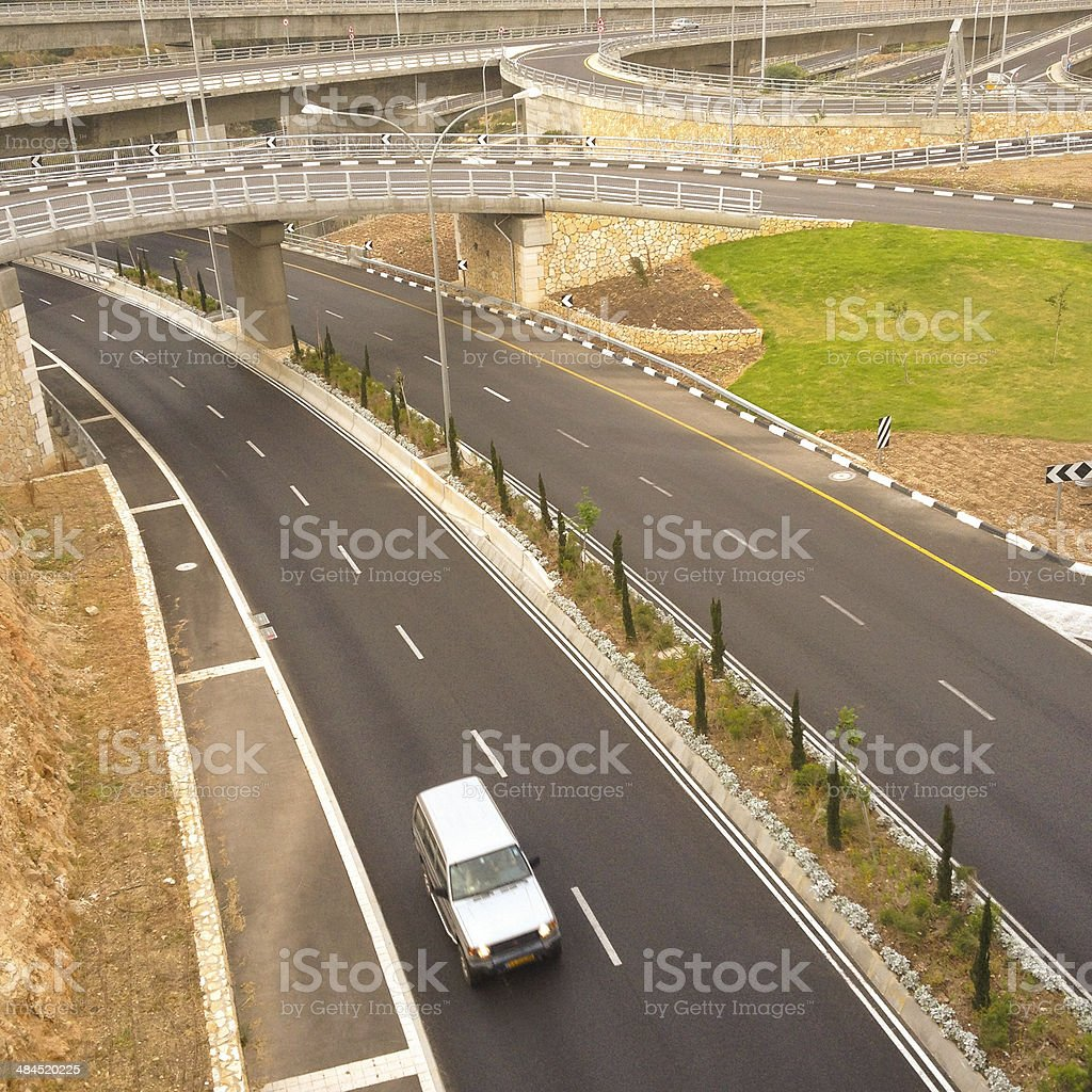 Highway with car royalty-free stock photo