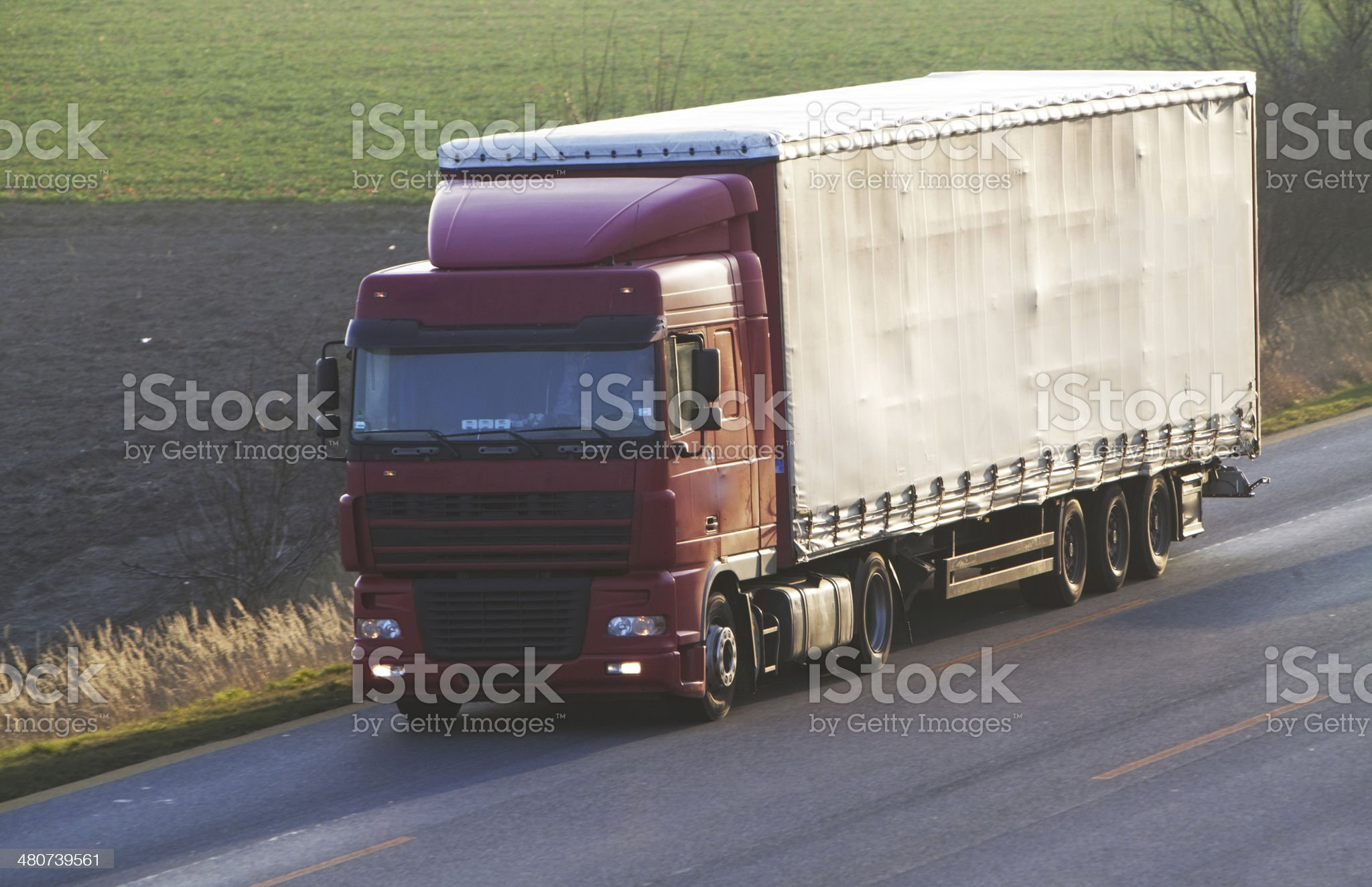 Highway with cars and Truck royalty-free stock photo
