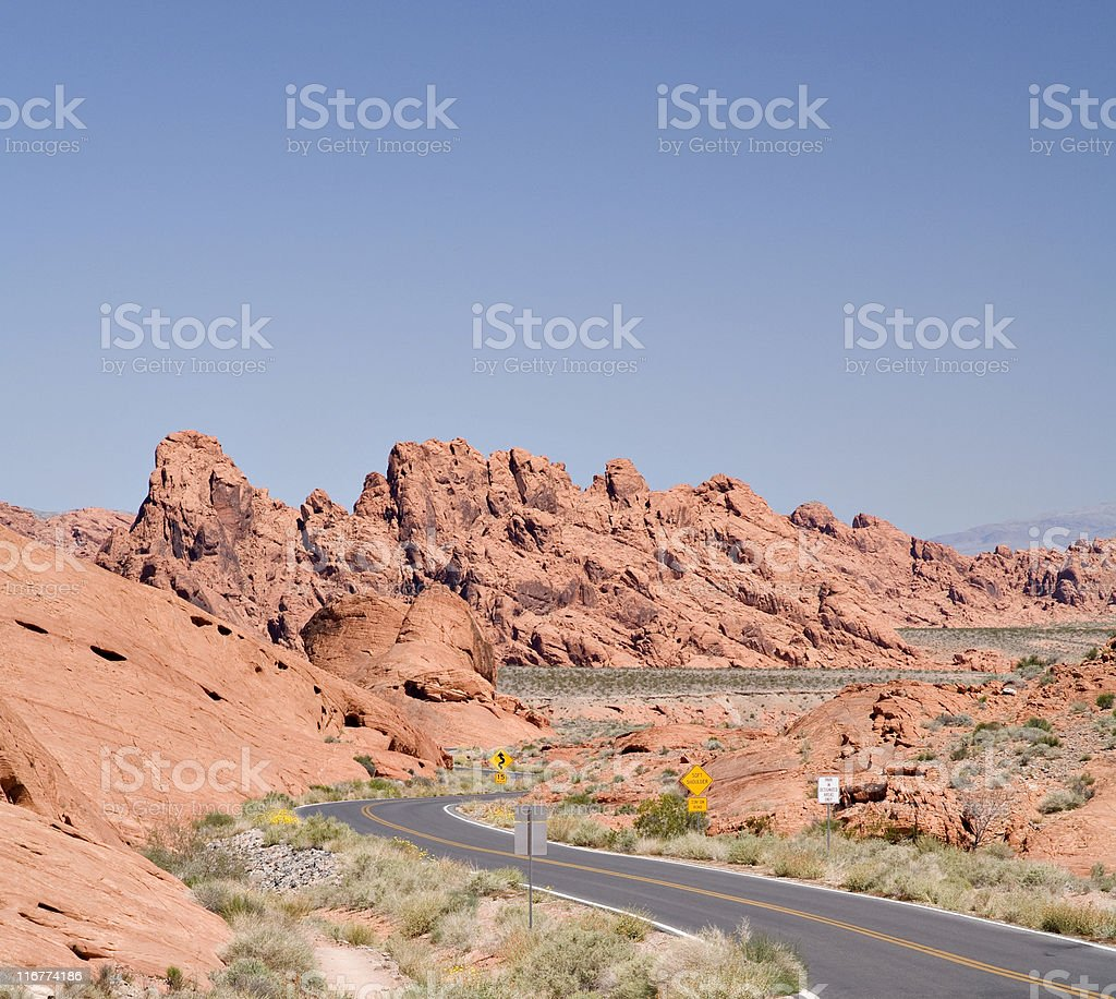 Highway with Curves Through Valley of Fire State Park stock photo