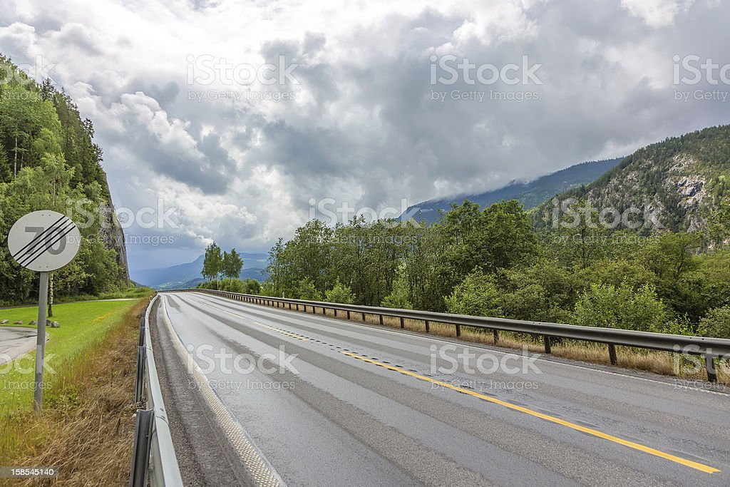 Highway with sign royalty-free stock photo