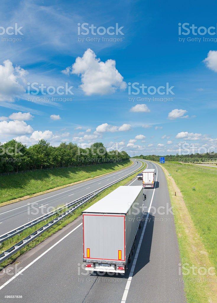 highway with trucks stock photo