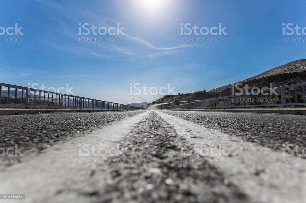 Highway with vanishing point stock photo