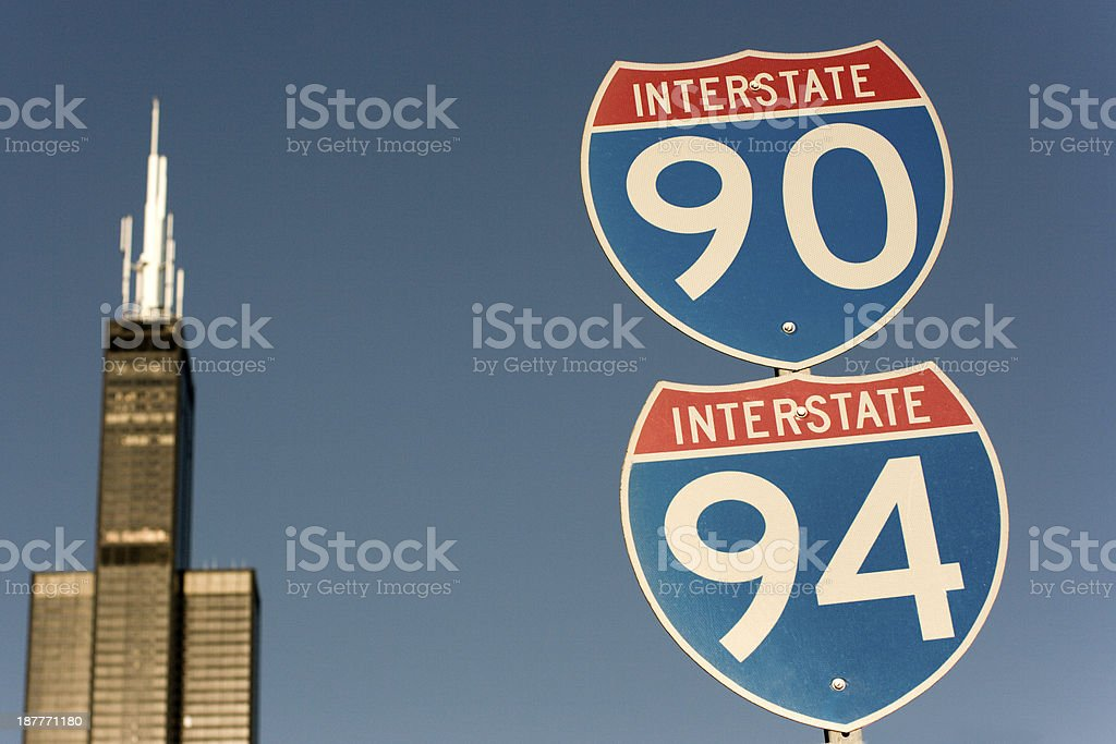 Highways 90 and 94 going through Chicago stock photo