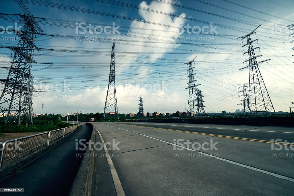 Highways and pylon stock photo