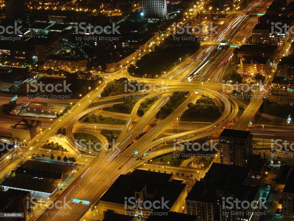 Highways crossroad stock photo