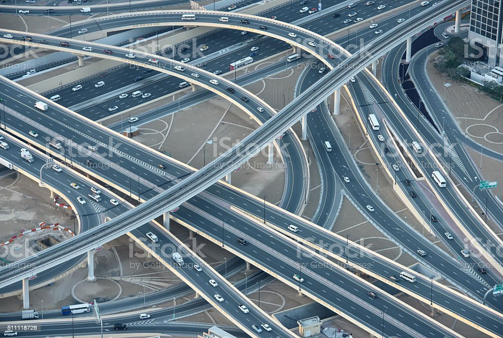 Highways in downtown Dubai, aerial view stock photo