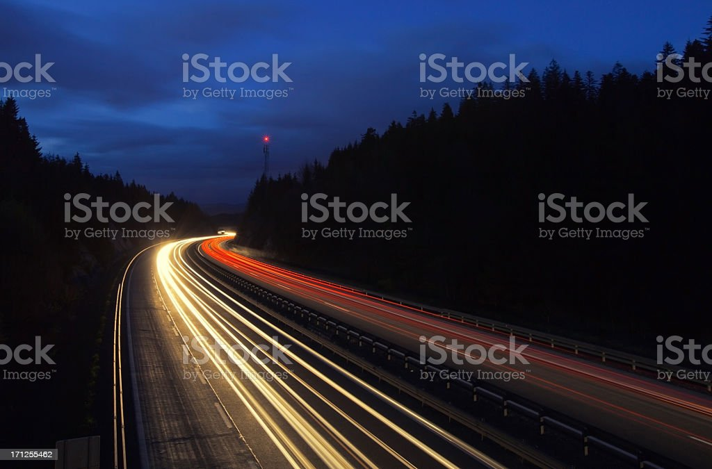 Higway by night stock photo