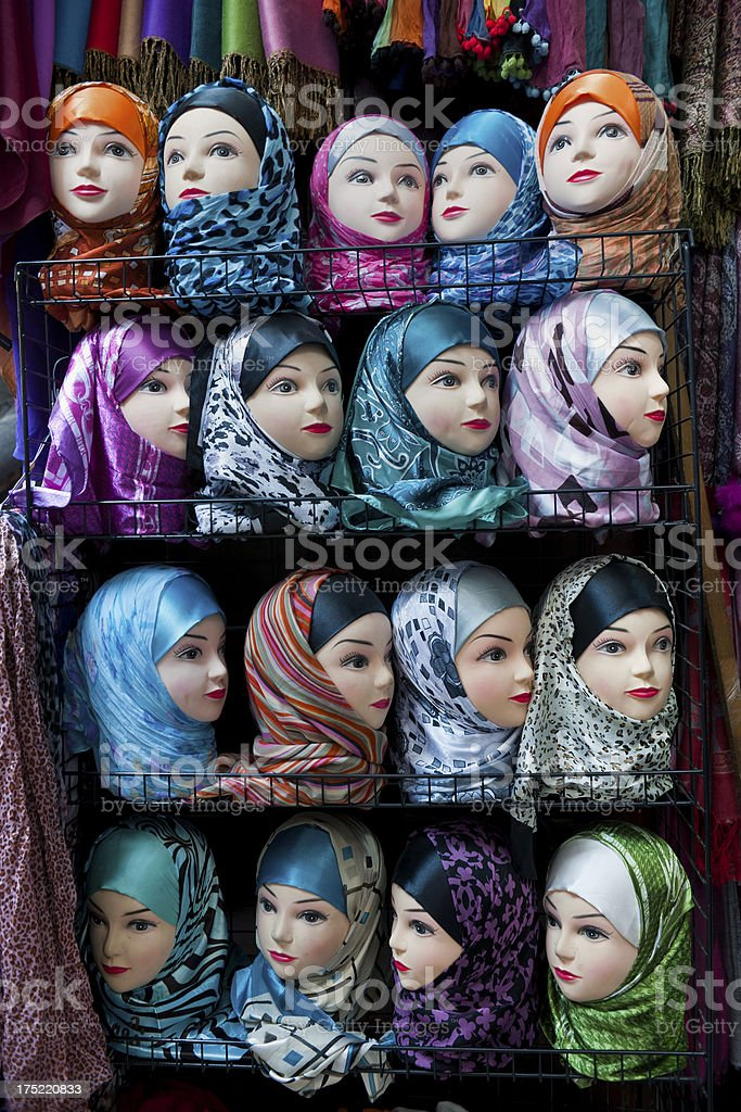 Hijabs for Sale in Medina Fez Morocco Africa royalty-free stock photo