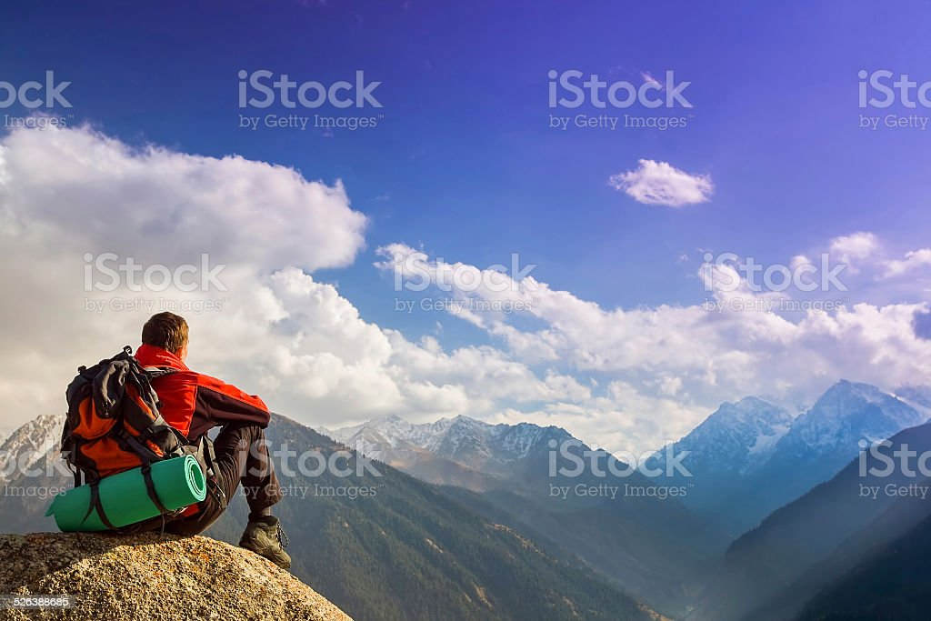 Hike and adventure at mountain stock photo