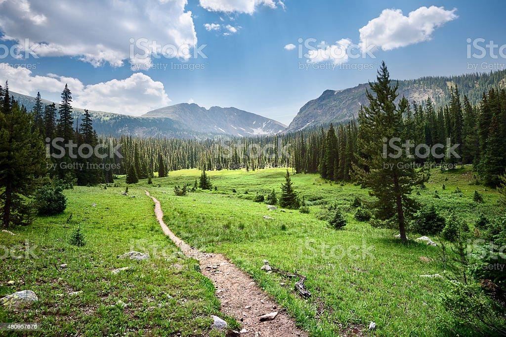 Hike to Columbine Lake stock photo