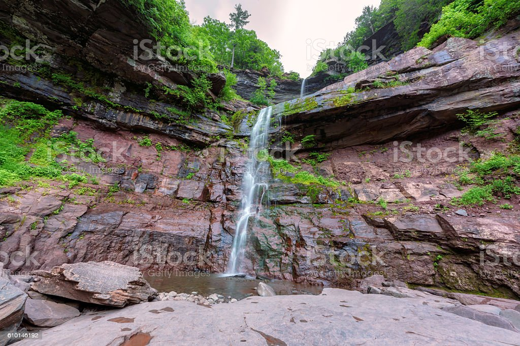 Hike to popular Kaaterskill Falls stock photo