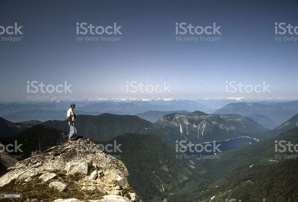 Hiker Above Jones Lake stock photo