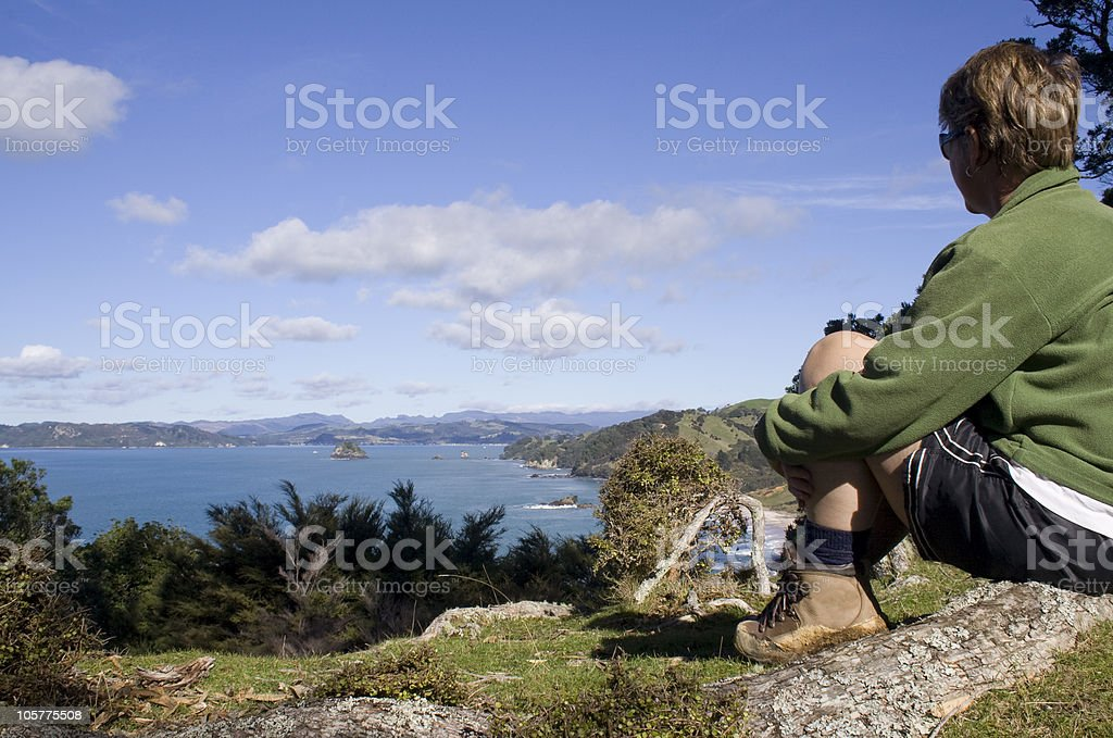 Hiker admires the view stock photo