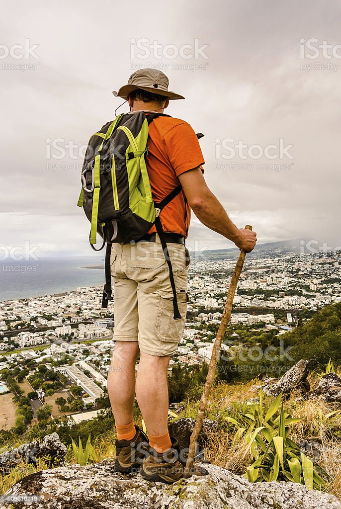 Hiker admiring the view - Island of Reunion stock photo