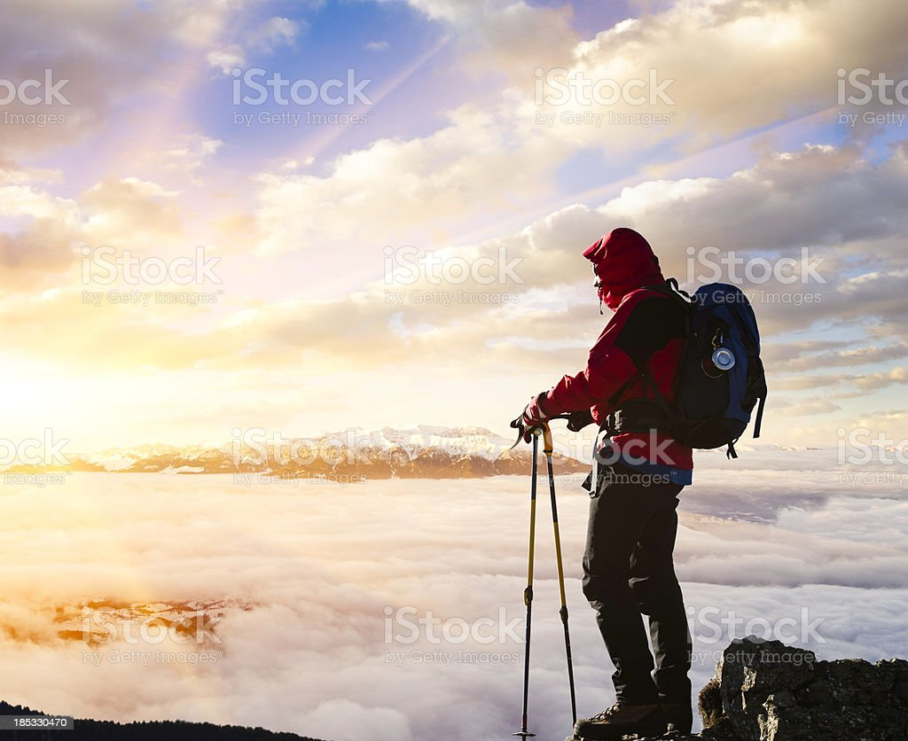 hiker and majestic sunset royalty-free stock photo
