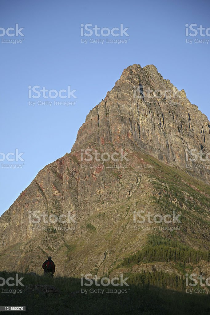 Hiker and Mountain Peak royalty-free stock photo