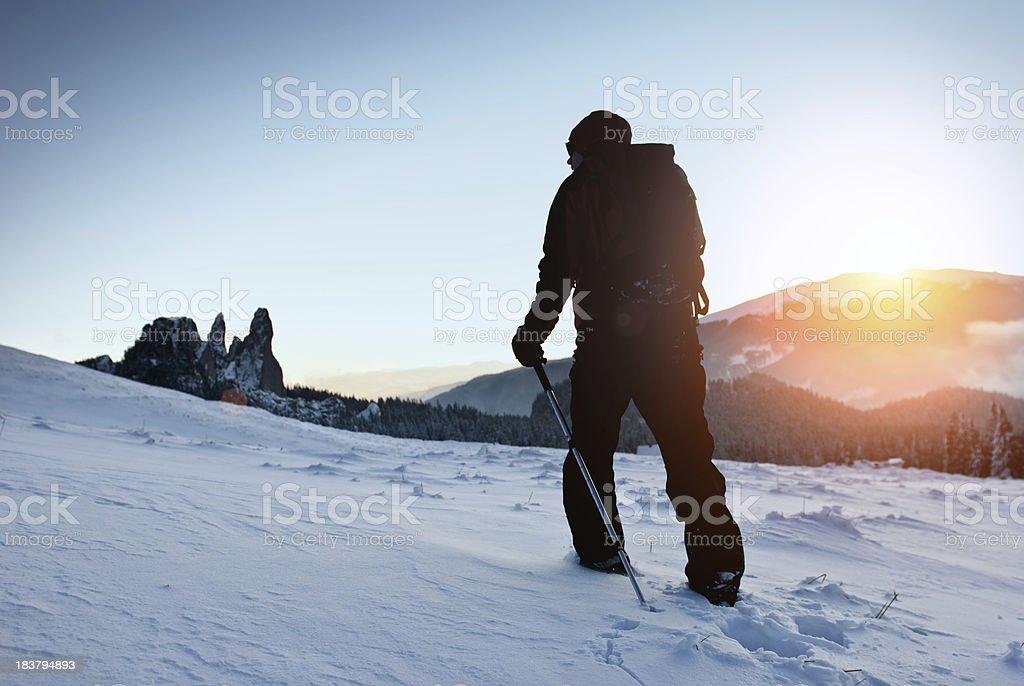hiker at dawn royalty-free stock photo