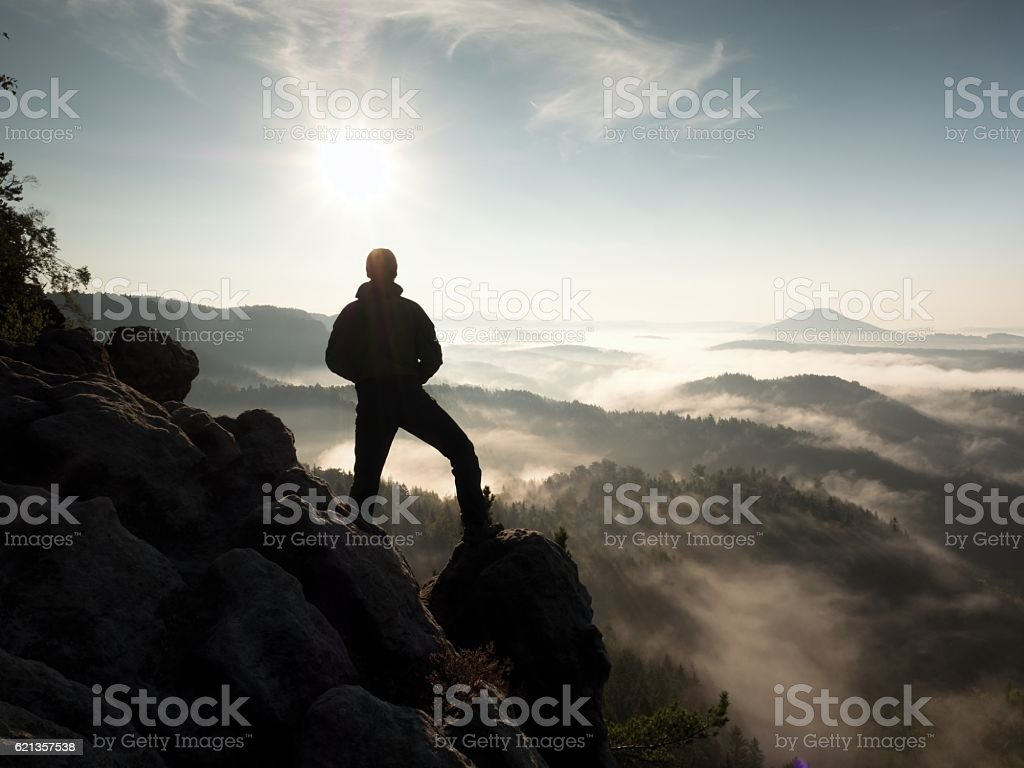 Hiker at heather bush on corner of empire bellow pine stock photo