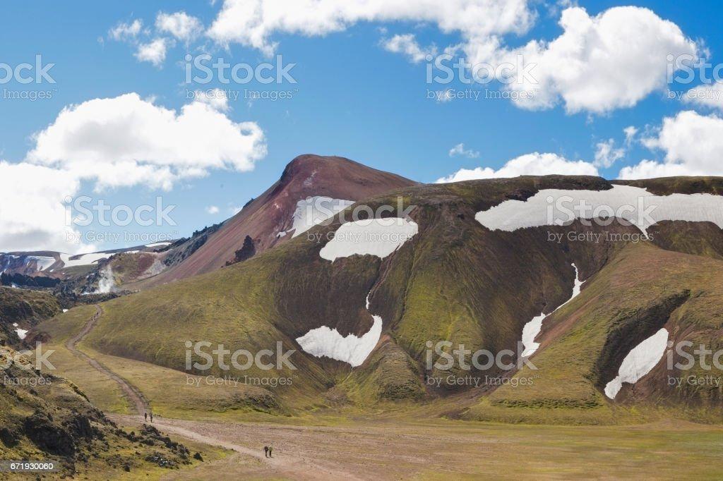 Hiker at Landmannalaugar, Iceland stock photo