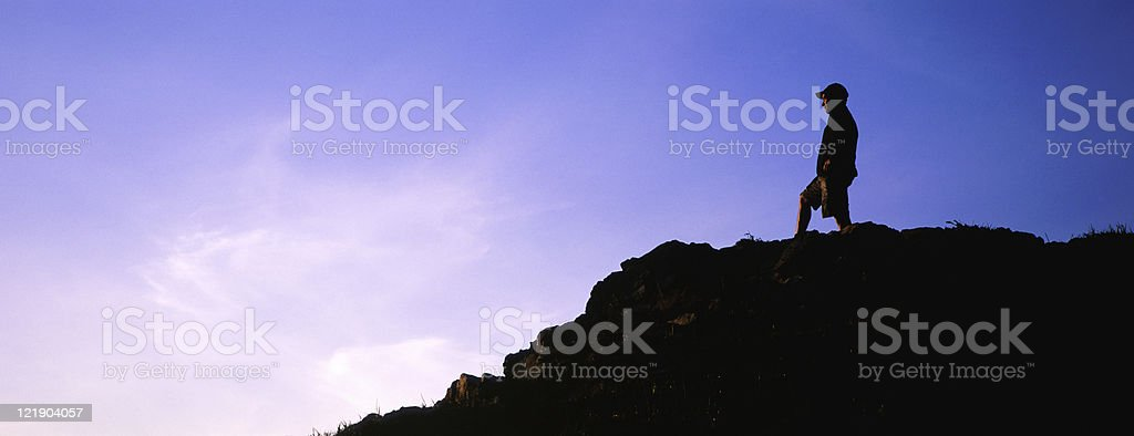 Hiker at top of Mountain royalty-free stock photo