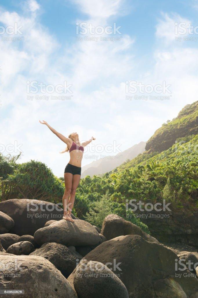 Hiker Celebrating The Beauty stock photo