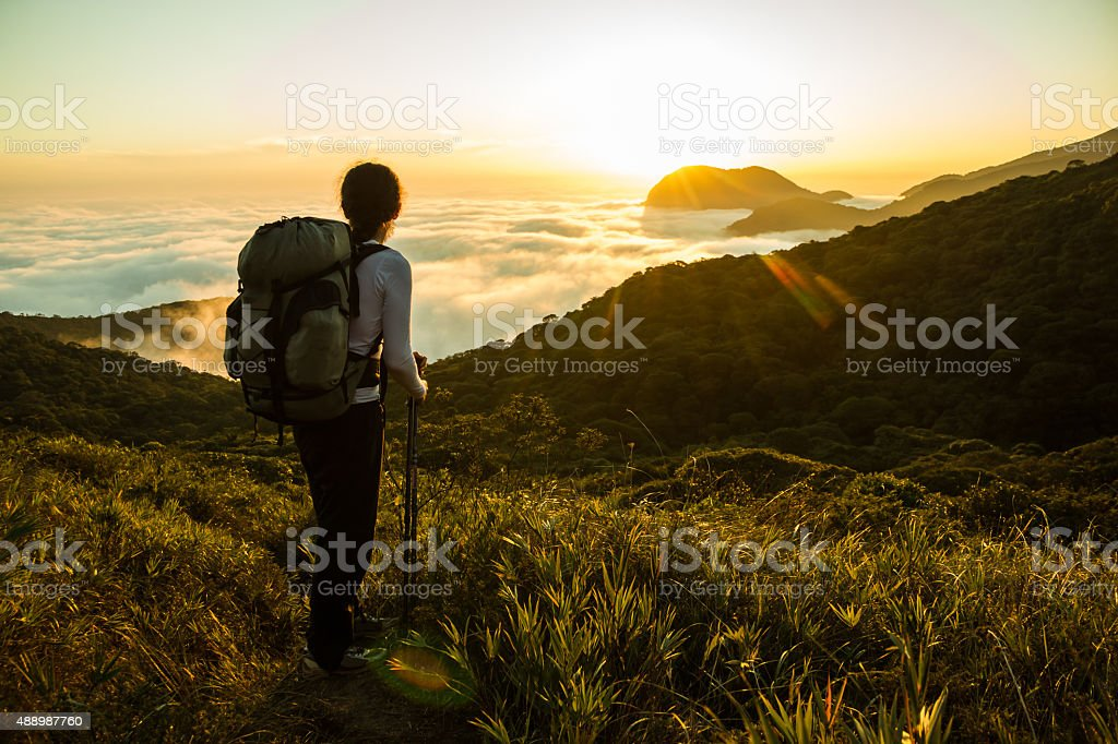 Hiker enjoying the Sunset and Amazon Forest stock photo