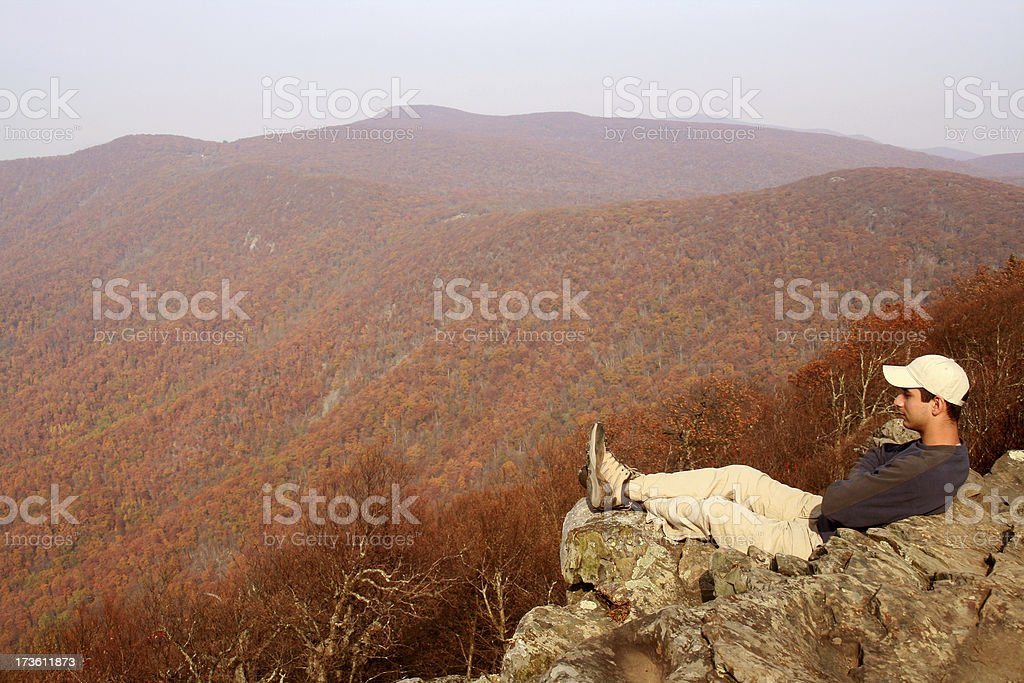 Hiker enjoying the view from Hawksbill Summit royalty-free stock photo