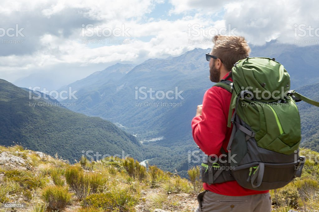 Hiker enjoying view from mountain top, Milford sound, New Zealand stock photo
