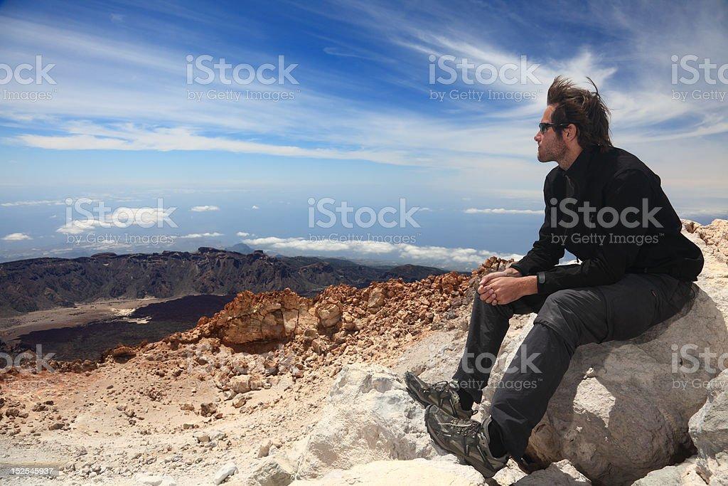Hiker enjoying view stock photo