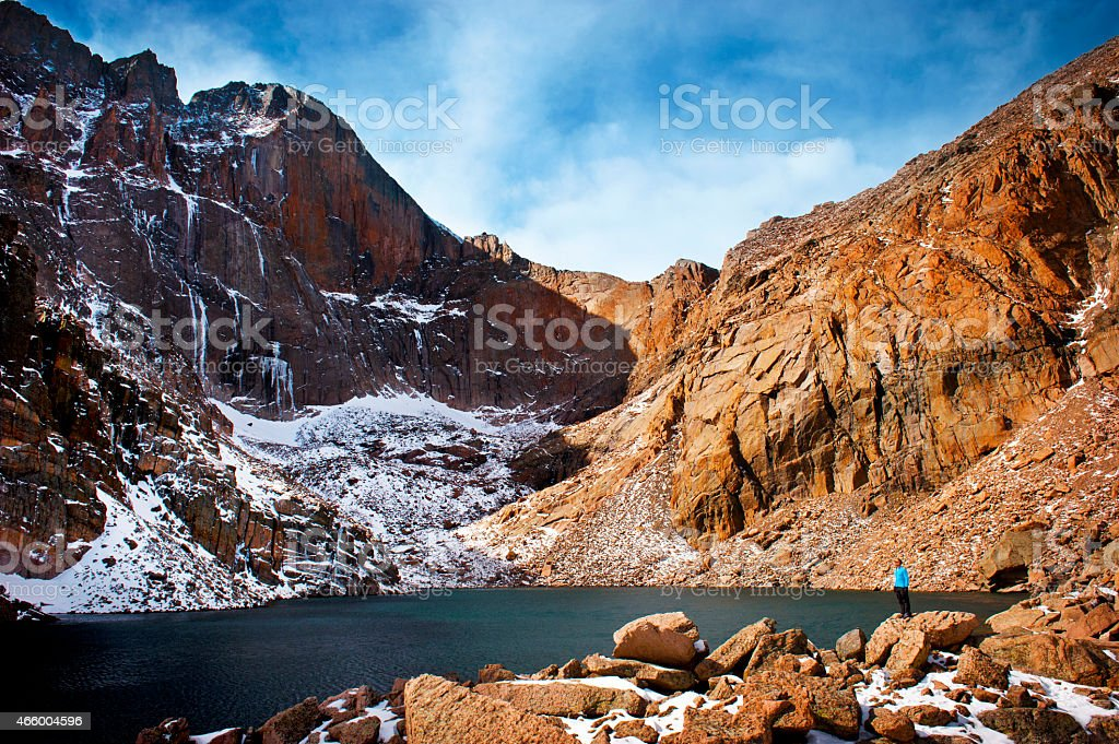 Hiker Examines Chasm Lake royalty-free stock photo