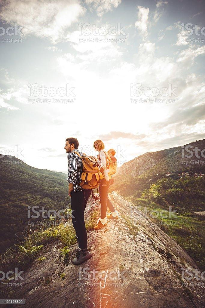 Hiker family stock photo