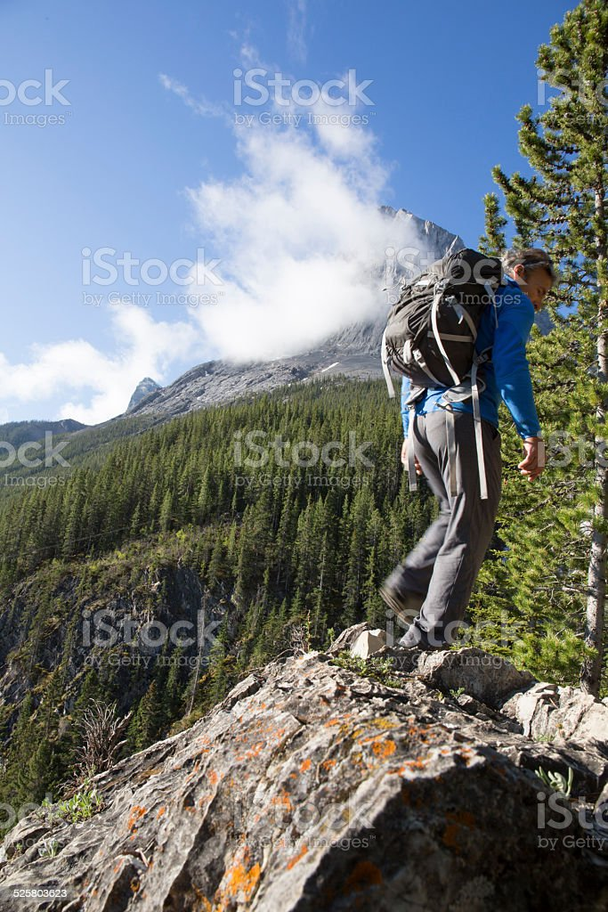 Hiker follows ridge crest in mountain forest stock photo