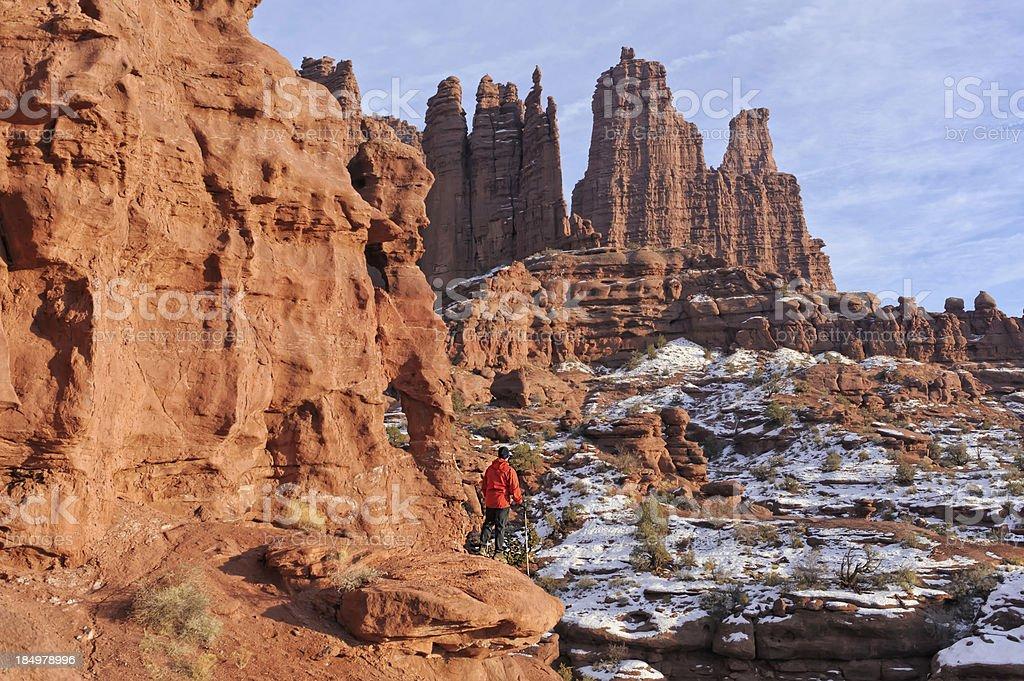 Hiker Hiking Around Fisher Towers Moab Utah stock photo