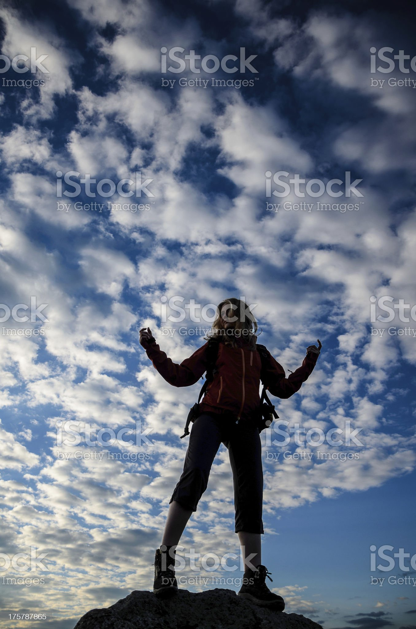 hiker in meditating position royalty-free stock photo