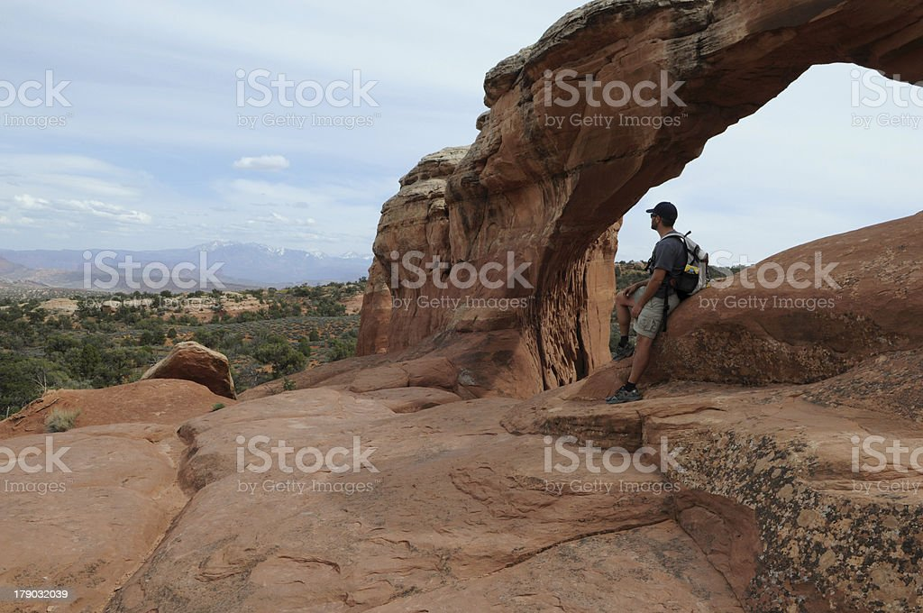 Hiker in Moab, Utah royalty-free stock photo