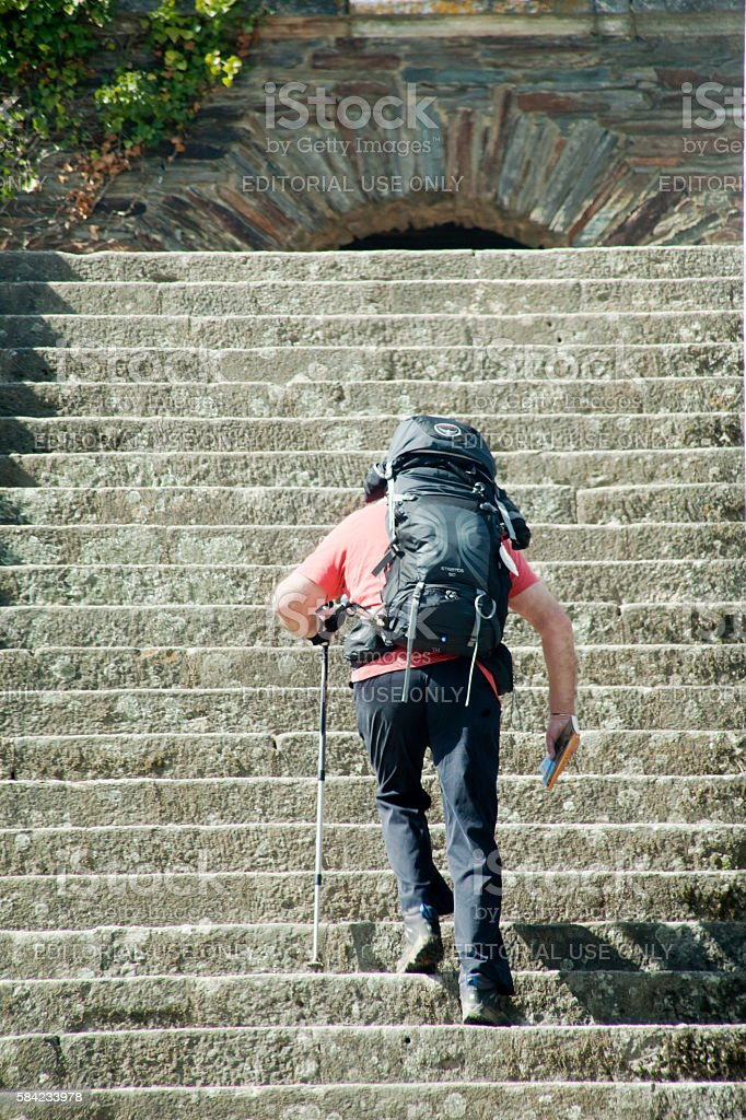 Hiker in the 'Camino de Santiago' pilgrimage route stock photo